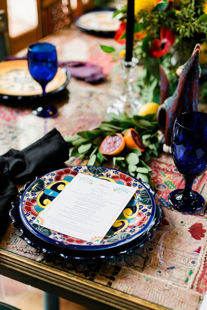 Mexican Themed Table Setting from an Alebrije Mexican Folk Art Inspired Baby Shower on Kara's Party Ideas | KarasPartyIdeas.com (45)