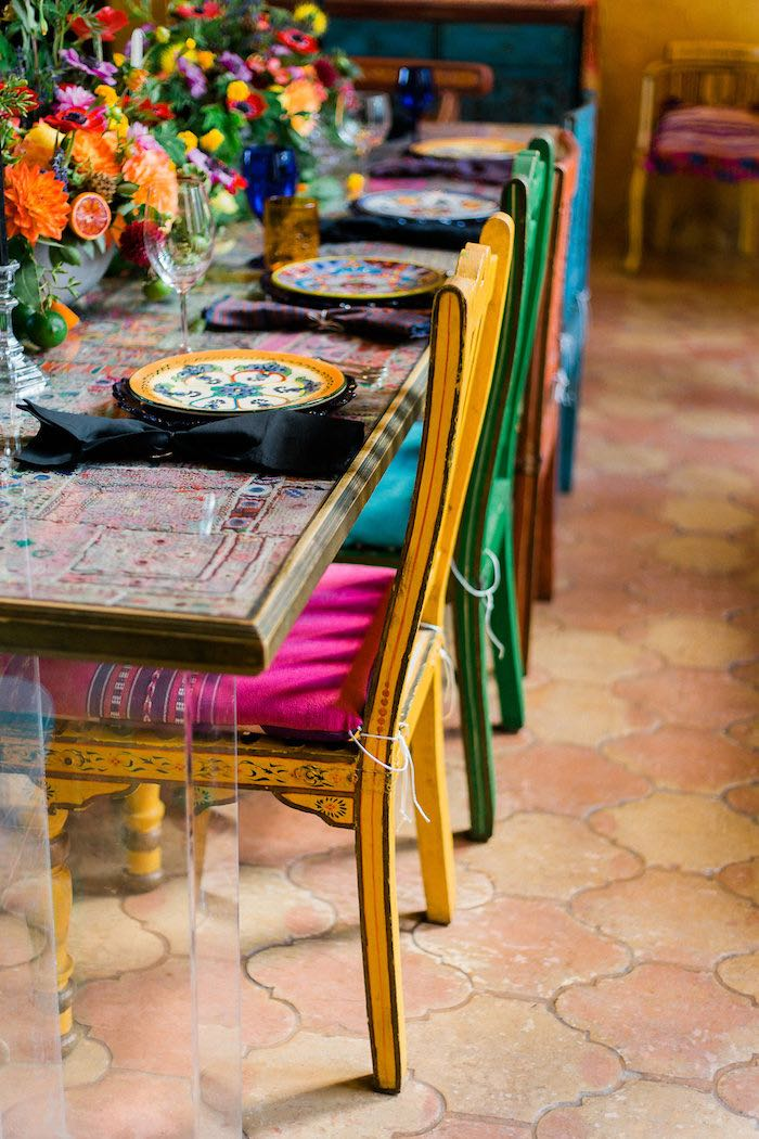 Colored Chairs from an Alebrije Mexican Folk Art Inspired Baby Shower on Kara's Party Ideas | KarasPartyIdeas.com (41)
