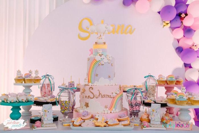 Unicorn-inspired Dessert Table from a Baby Unicorn 1st Birthday Party on Kara's Party Ideas | KarasPartyIdeas.com (32)