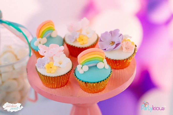 Rainbow & Flower Cupcakes + Toppers from a Baby Unicorn 1st Birthday Party on Kara's Party Ideas | KarasPartyIdeas.com (31)