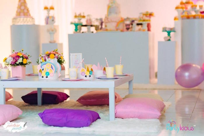 Pillow-seated Guest Table from a Baby Unicorn 1st Birthday Party on Kara's Party Ideas | KarasPartyIdeas.com (30)