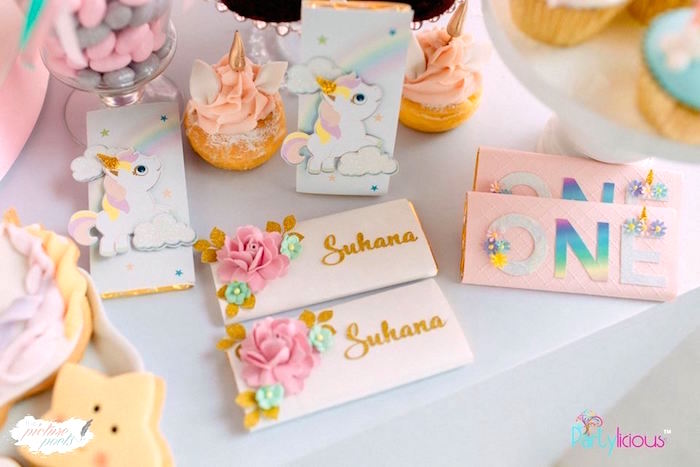 Unicorn Candy Bar Labels from a Baby Unicorn 1st Birthday Party on Kara's Party Ideas | KarasPartyIdeas.com (29)