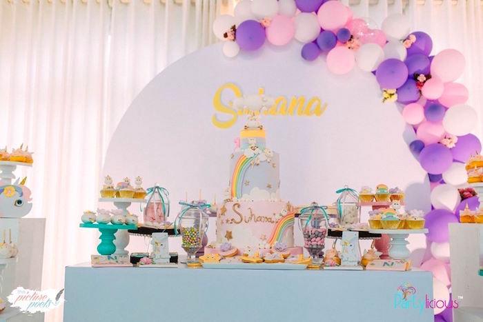 Unicorn Themed Dessert Table from a Baby Unicorn 1st Birthday Party on Kara's Party Ideas | KarasPartyIdeas.com (28)