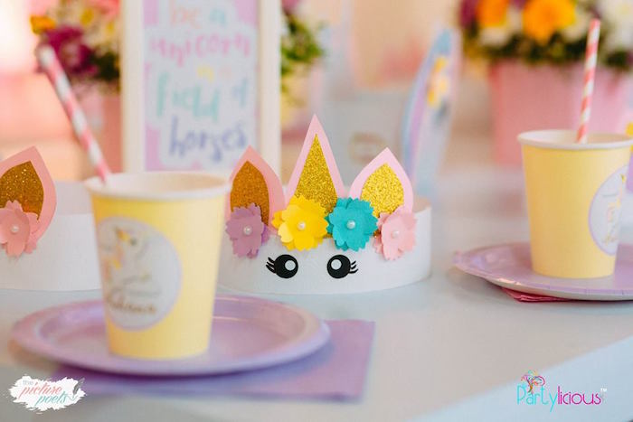 Unicorn Crown from a Baby Unicorn 1st Birthday Party on Kara's Party Ideas | KarasPartyIdeas.com (26)