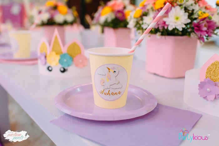 Unicorn Party Cup + Table Setting from a Baby Unicorn 1st Birthday Party on Kara's Party Ideas | KarasPartyIdeas.com (42)