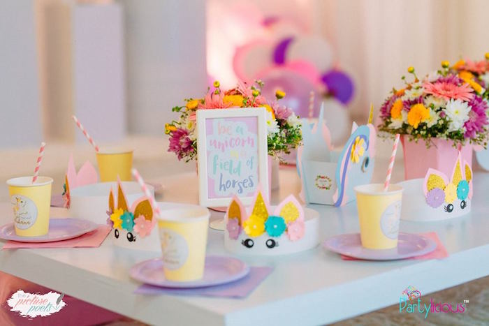 Unicorn Table Settings + Guest Table from a Baby Unicorn 1st Birthday Party on Kara's Party Ideas | KarasPartyIdeas.com (23)