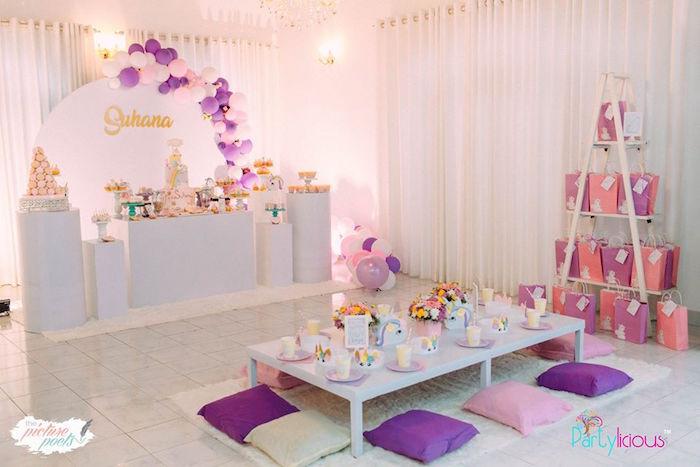 Unicorn Party Tables from a Baby Unicorn 1st Birthday Party on Kara's Party Ideas | KarasPartyIdeas.com (22)