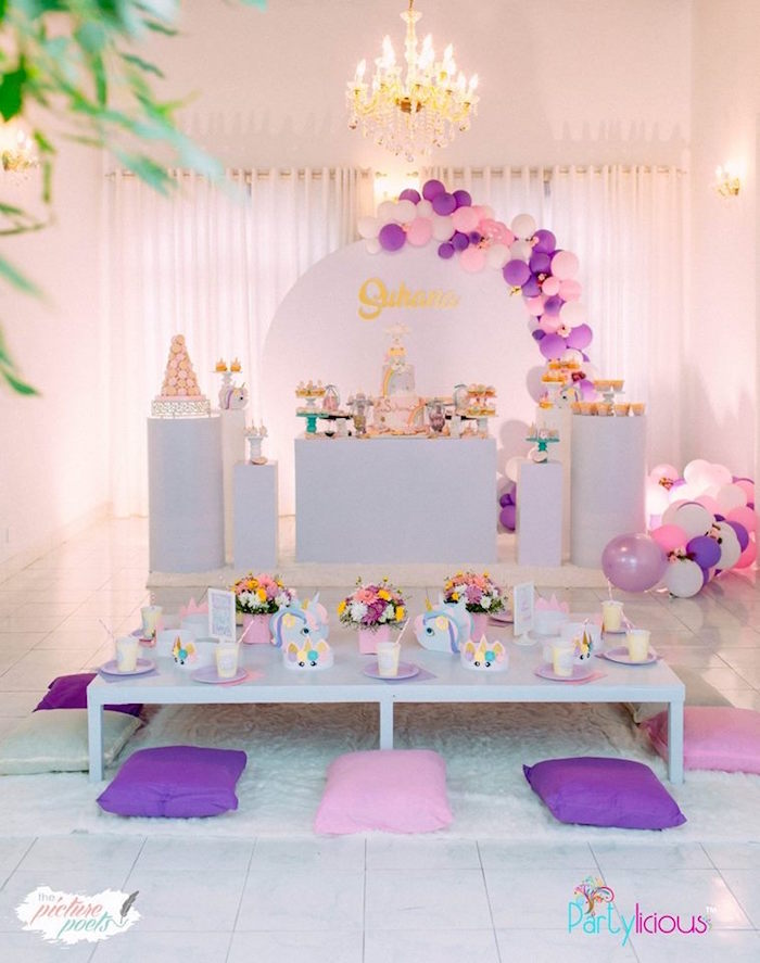 Unicorn Party Tables from a Baby Unicorn 1st Birthday Party on Kara's Party Ideas | KarasPartyIdeas.com (21)