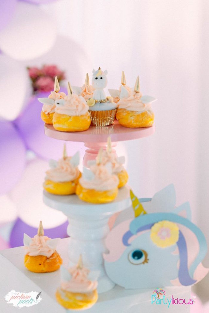 Unicorn Cream Puffs from a Baby Unicorn 1st Birthday Party on Kara's Party Ideas | KarasPartyIdeas.com (20)