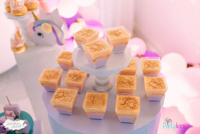 Dessert Cups from a Baby Unicorn 1st Birthday Party on Kara's Party Ideas | KarasPartyIdeas.com (19)