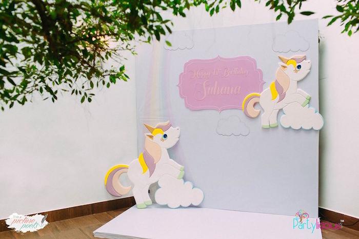 Unicorn Photo Booth from a Baby Unicorn 1st Birthday Party on Kara's Party Ideas | KarasPartyIdeas.com (18)