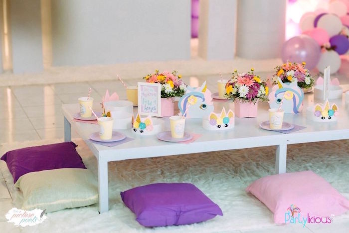 Unicorn-inspired Guest Table from a Baby Unicorn 1st Birthday Party on Kara's Party Ideas | KarasPartyIdeas.com (16)