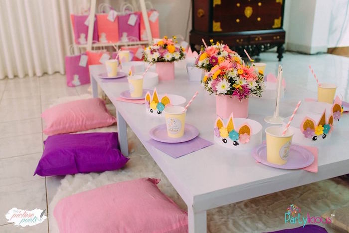 Unicorn-inspired Guest Table from a Baby Unicorn 1st Birthday Party on Kara's Party Ideas | KarasPartyIdeas.com (15)