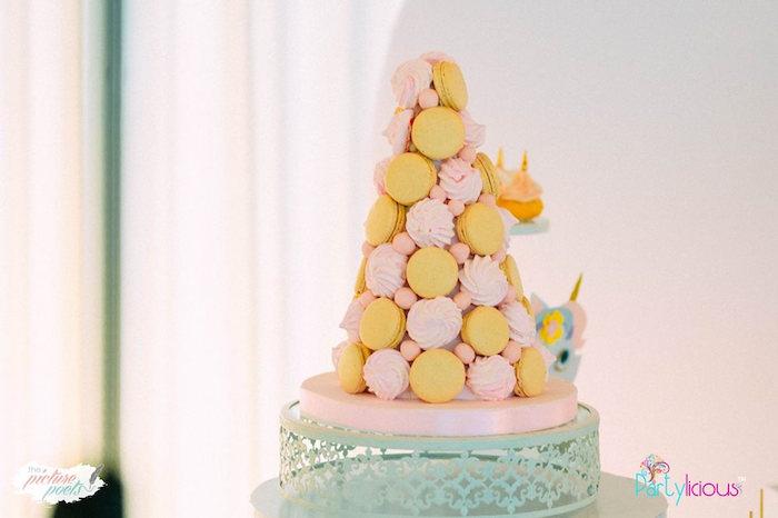 Macaron Meringue Tower from a Baby Unicorn 1st Birthday Party on Kara's Party Ideas | KarasPartyIdeas.com (13)