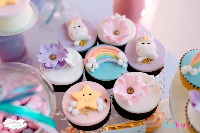 Cupcakes from a Baby Unicorn 1st Birthday Party on Kara's Party Ideas | KarasPartyIdeas.com (12)