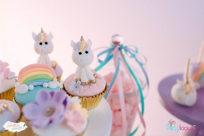 Baby Unicorn Cupcakes from a Baby Unicorn 1st Birthday Party on Kara's Party Ideas | KarasPartyIdeas.com (11)