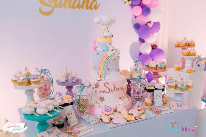 Unicorn Dessert Table from a Baby Unicorn 1st Birthday Party on Kara's Party Ideas | KarasPartyIdeas.com (10)