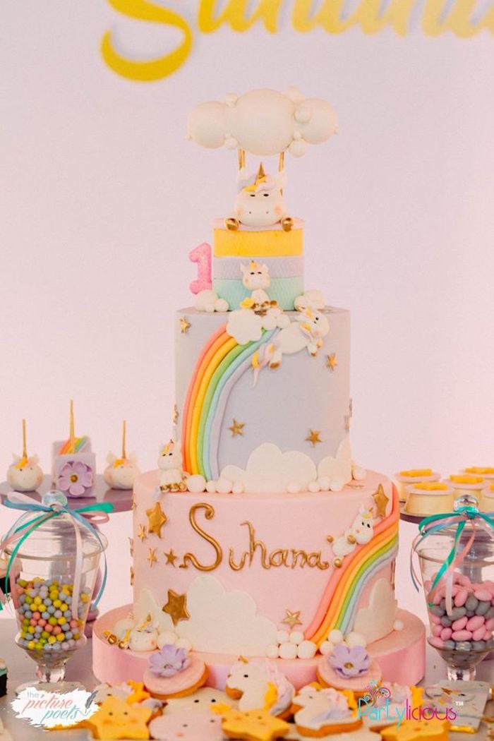 Unicorn Cake from a Baby Unicorn 1st Birthday Party on Kara's Party Ideas | KarasPartyIdeas.com (9)