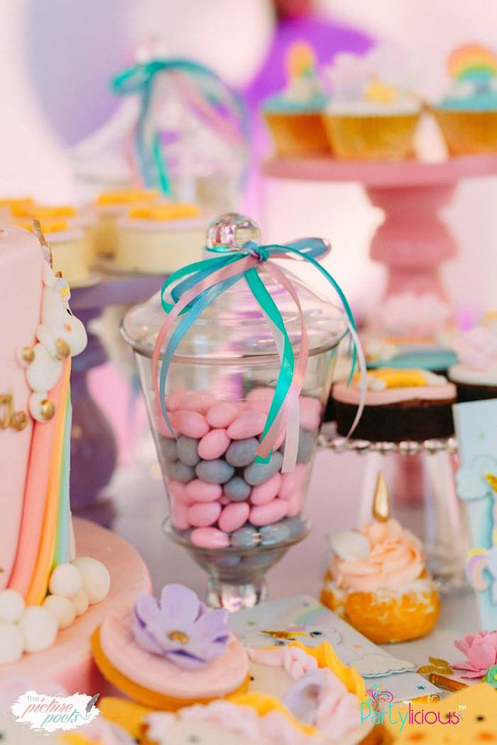 Ribbon Tied Candy Jar from a Baby Unicorn 1st Birthday Party on Kara's Party Ideas | KarasPartyIdeas.com (40)