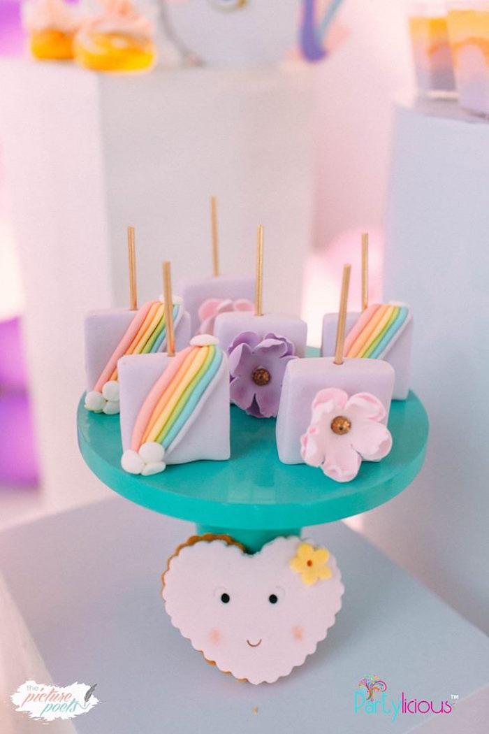 Rainbow & Flower Dessert Pops from a Baby Unicorn 1st Birthday Party on Kara's Party Ideas | KarasPartyIdeas.com (39)