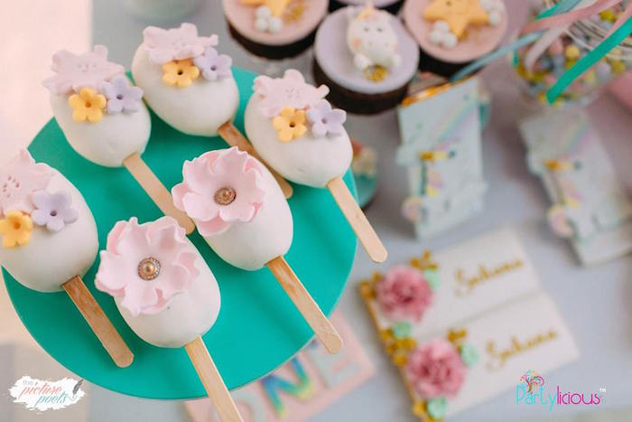 Flower Cake Popsicles from a Baby Unicorn 1st Birthday Party on Kara's Party Ideas | KarasPartyIdeas.com (37)
