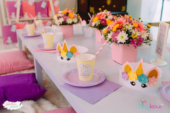 Unicorn-inspired Table Setting + Guest Table from a Baby Unicorn 1st Birthday Party on Kara's Party Ideas | KarasPartyIdeas.com (35)