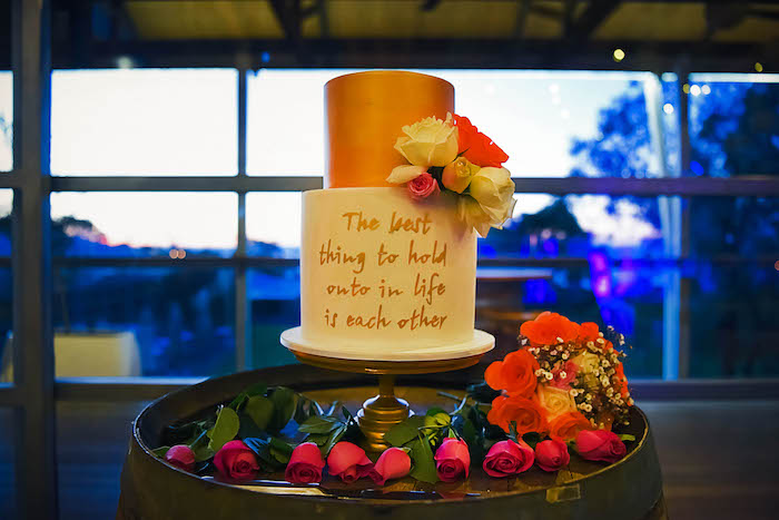 Scripted Wedding Cake from a Beautiful Peninsula Wedding on Kara's Party Ideas | KarasPartyIdeas.com (6)