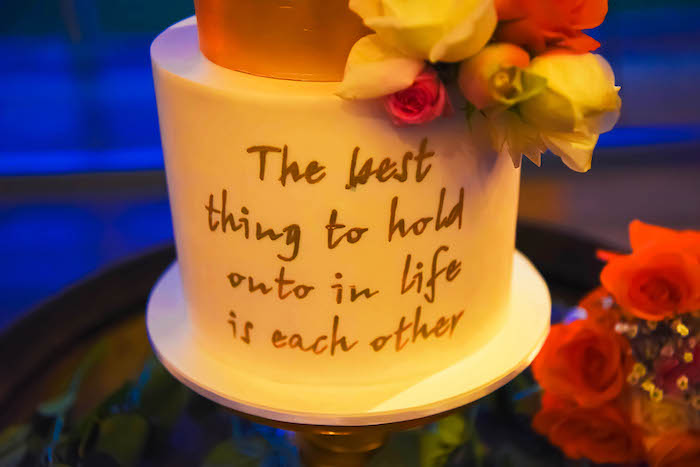 Scripted Wedding Cake from a Beautiful Peninsula Wedding on Kara's Party Ideas | KarasPartyIdeas.com (5)
