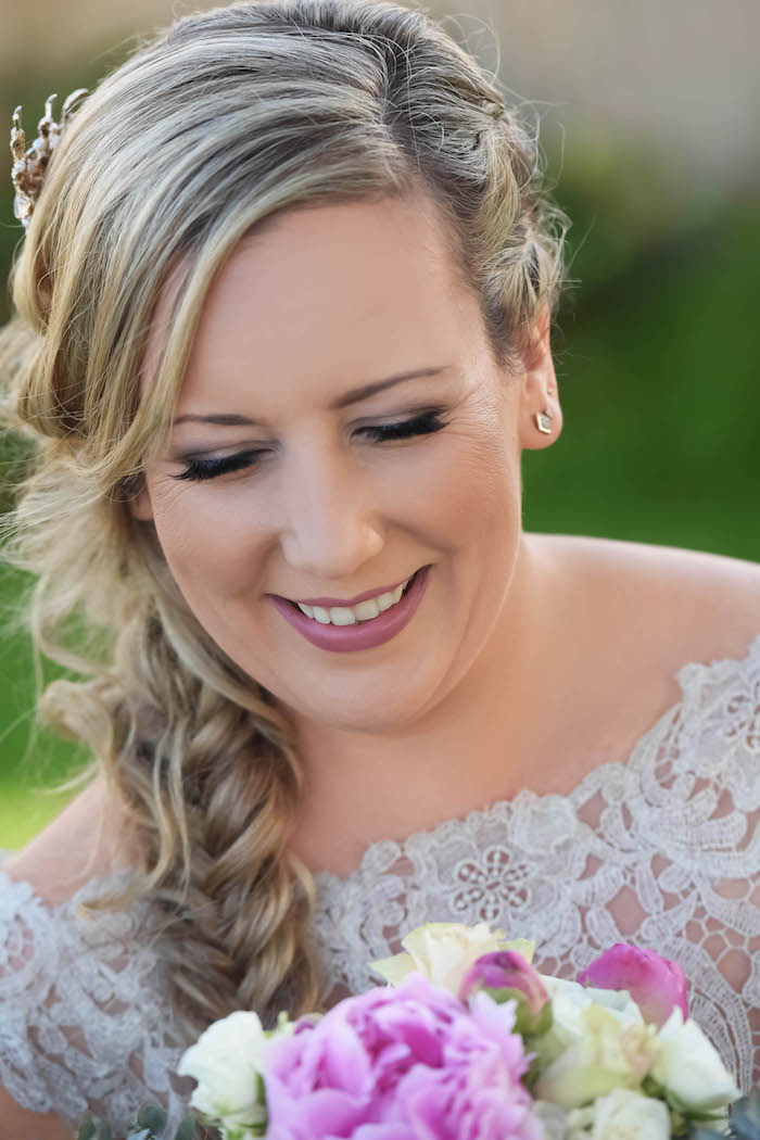 Braided Bridal Hair from a Beautiful Peninsula Wedding on Kara's Party Ideas | KarasPartyIdeas.com (14)