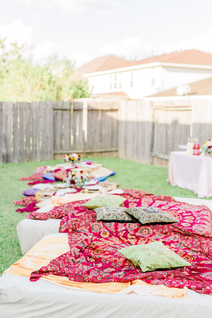 Bohemian Blanket Lounge + Party Tables from a Boho Chic Friendsgiving Party on Kara's Party Ideas | KarasPartyIdeas.com (23)