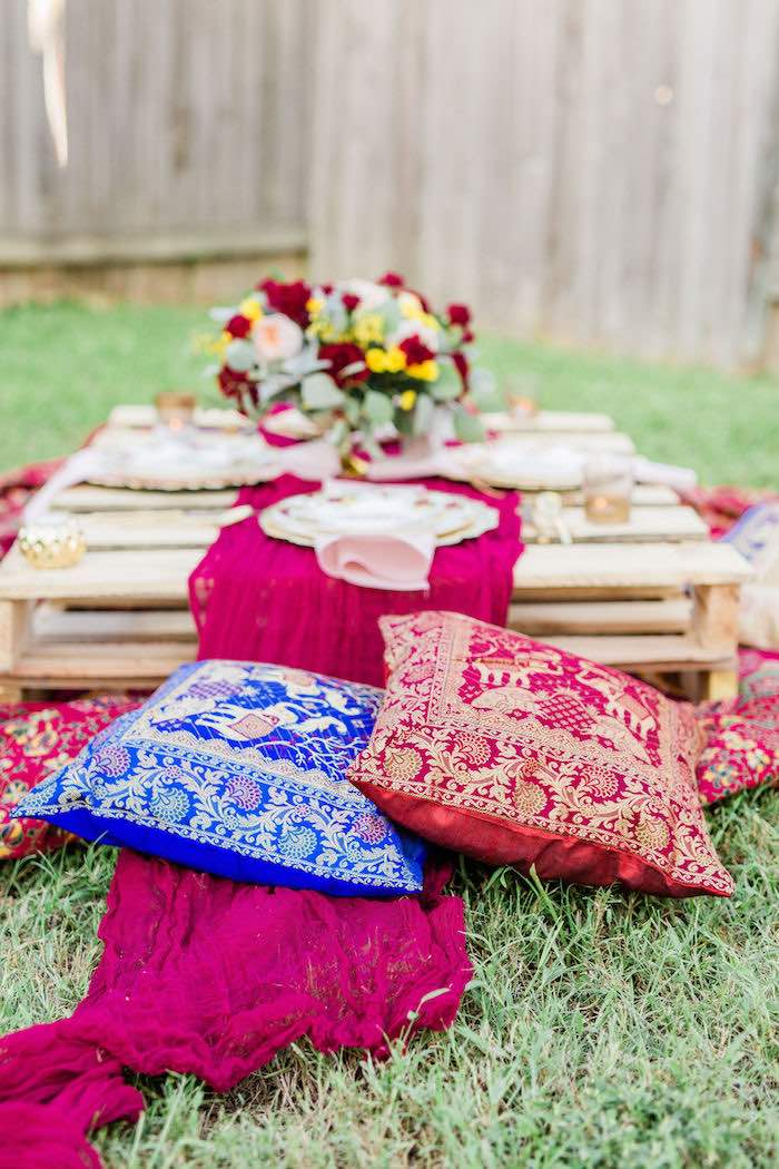 Bohemian Pillow Seating from a Boho Chic Friendsgiving Party on Kara's Party Ideas | KarasPartyIdeas.com (21)