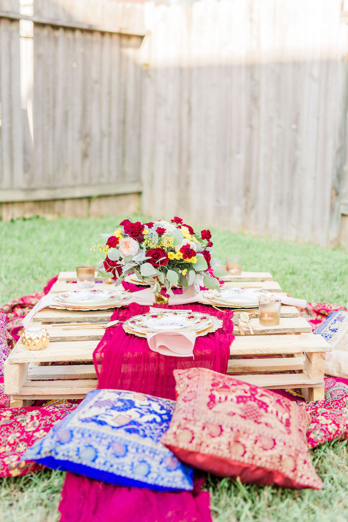 Bohemian Pallet Board Dining Table from a Boho Chic Friendsgiving Party on Kara's Party Ideas | KarasPartyIdeas.com (20)