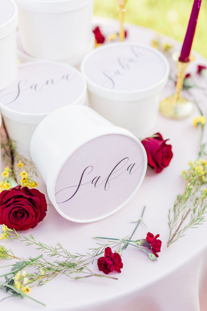 Personalized Favor Buckets from a Boho Chic Friendsgiving Party on Kara's Party Ideas | KarasPartyIdeas.com (17)