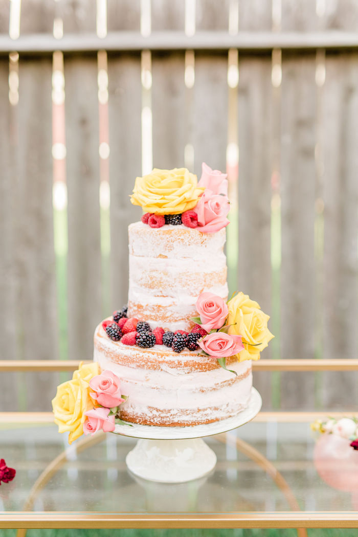 Naked Cake adorned with berries and blooms from a Boho Chic Friendsgiving Party on Kara's Party Ideas | KarasPartyIdeas.com (15)