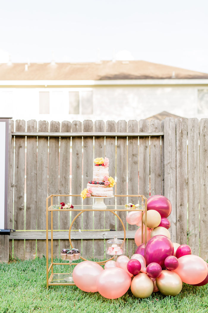 Cake Cart from a Boho Chic Friendsgiving Party on Kara's Party Ideas | KarasPartyIdeas.com (13)
