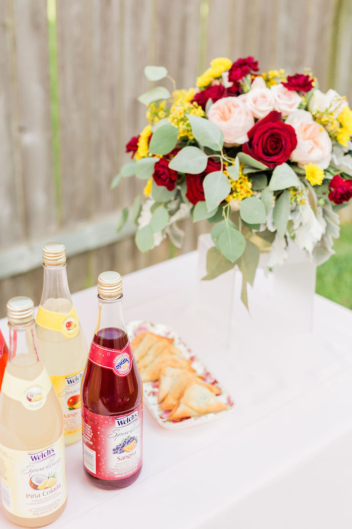 Beverage Table from a Boho Chic Friendsgiving Party on Kara's Party Ideas | KarasPartyIdeas.com (12)