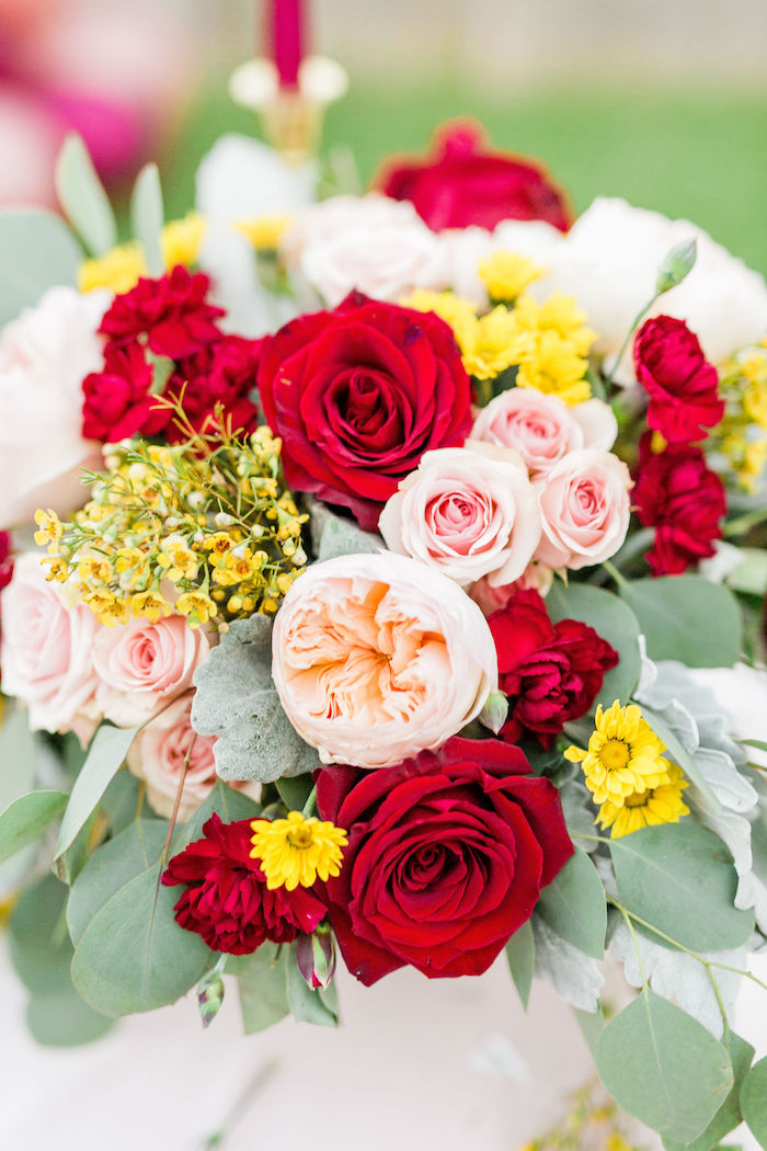 Red, Yellow & Peach Blooms from a Boho Chic Friendsgiving Party on Kara's Party Ideas | KarasPartyIdeas.com (3)
