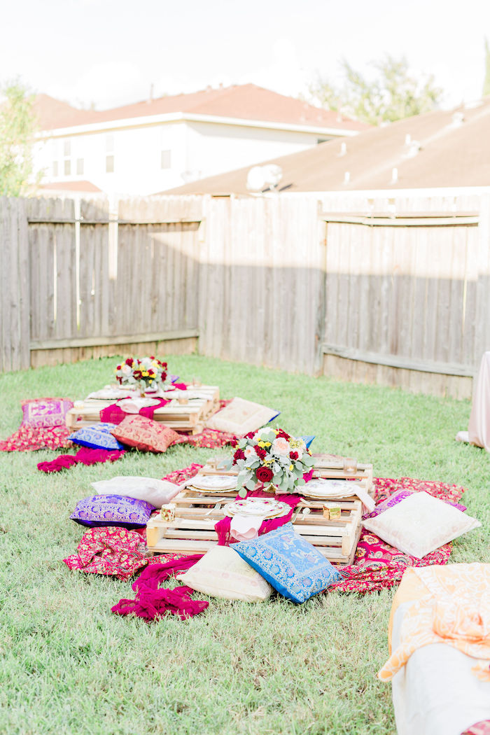 Pallet Board Dining Tables from a Boho Chic Friendsgiving Party on Kara's Party Ideas | KarasPartyIdeas.com (27)