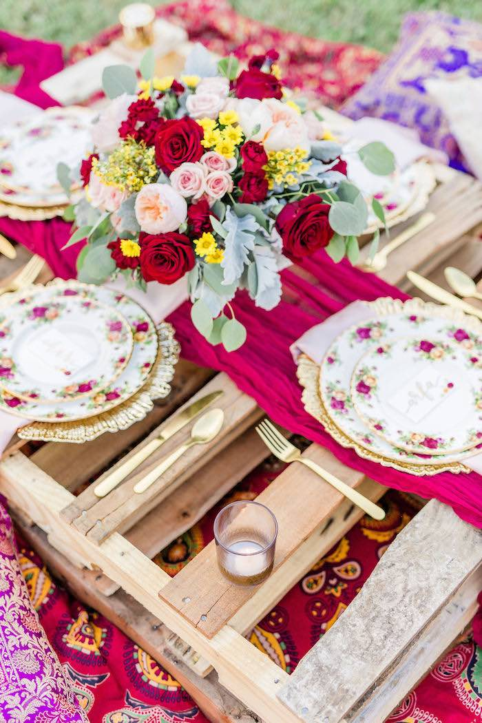 Floral Glam Table Settings from a Boho Chic Friendsgiving Party on Kara's Party Ideas | KarasPartyIdeas.com (26)