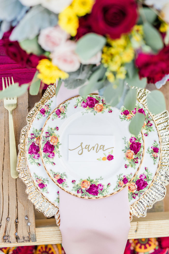 Floral Glam Table Setting from a Boho Chic Friendsgiving Party on Kara's Party Ideas | KarasPartyIdeas.com (25)