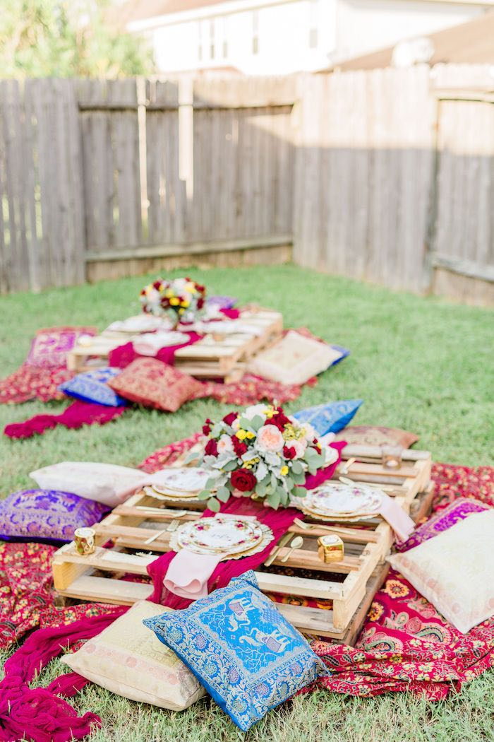 Boho Party Tables from a Boho Chic Friendsgiving Party on Kara's Party Ideas | KarasPartyIdeas.com (24)