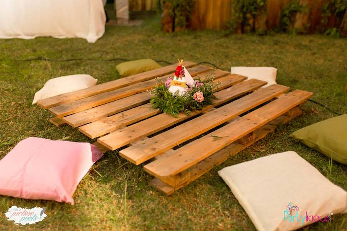 Pallet Board Guest Table from a Boho Vintage 21st Birthday Party on Kara's Party Ideas | KarasPartyIdeas.com (34)