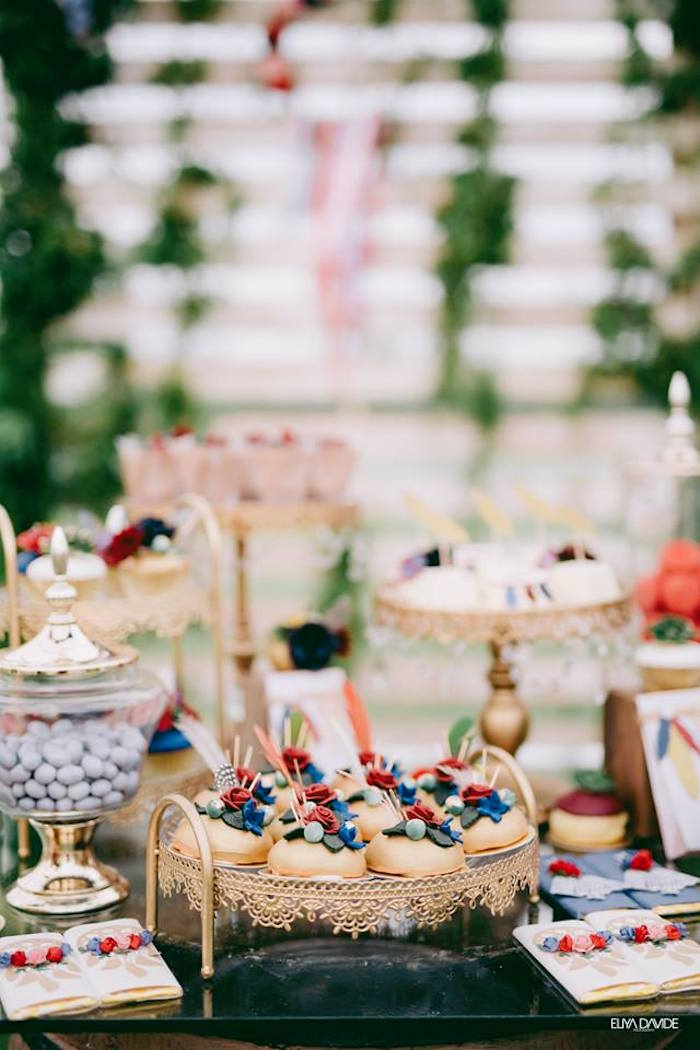 Bohemian Themed Dessert Cake Table From A Boho Vintage 21st Birthday Party On Karas