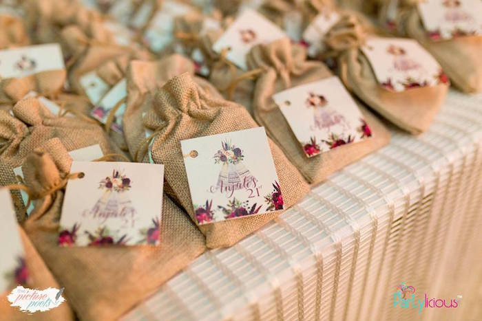 Burlap Favor Sacks with Teepee Tags from a Boho Vintage 21st Birthday Party on Kara's Party Ideas | KarasPartyIdeas.com (24)