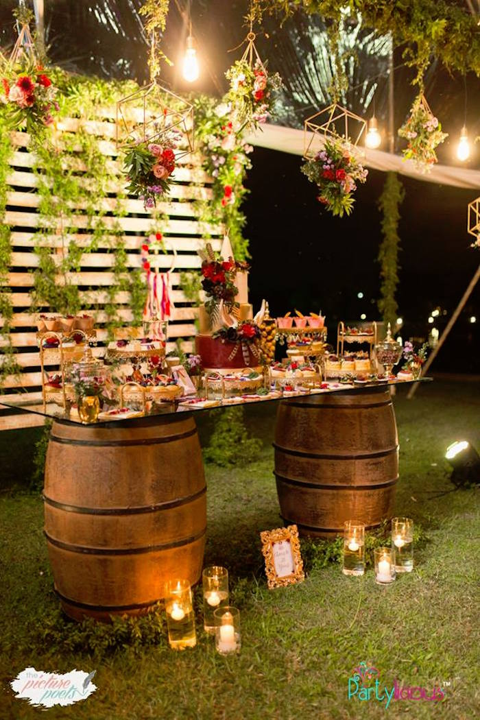 Boho Themed Wine Barrel Dessert Table from a Boho Vintage 21st Birthday Party on Kara's Party Ideas | KarasPartyIdeas.com (22)