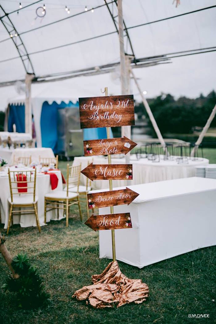 Wood Printed Directional Sign from a Boho Vintage 21st Birthday Party on Kara's Party Ideas | KarasPartyIdeas.com (20)