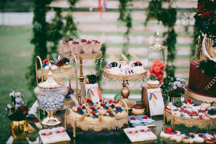 Boho Themed Dessert Table from a Boho Vintage 21st Birthday Party on Kara's Party Ideas | KarasPartyIdeas.com (19)