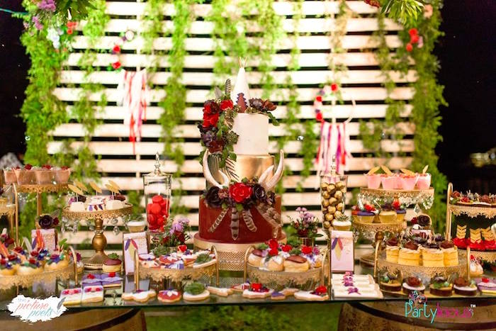 Boho Cake Table from a Boho Vintage 21st Birthday Party on Kara's Party Ideas | KarasPartyIdeas.com (18)