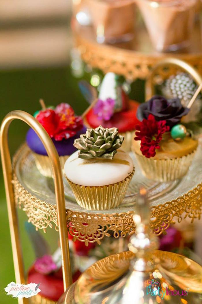 Boho Cupcakes from a Boho Vintage 21st Birthday Party on Kara's Party Ideas | KarasPartyIdeas.com (15)