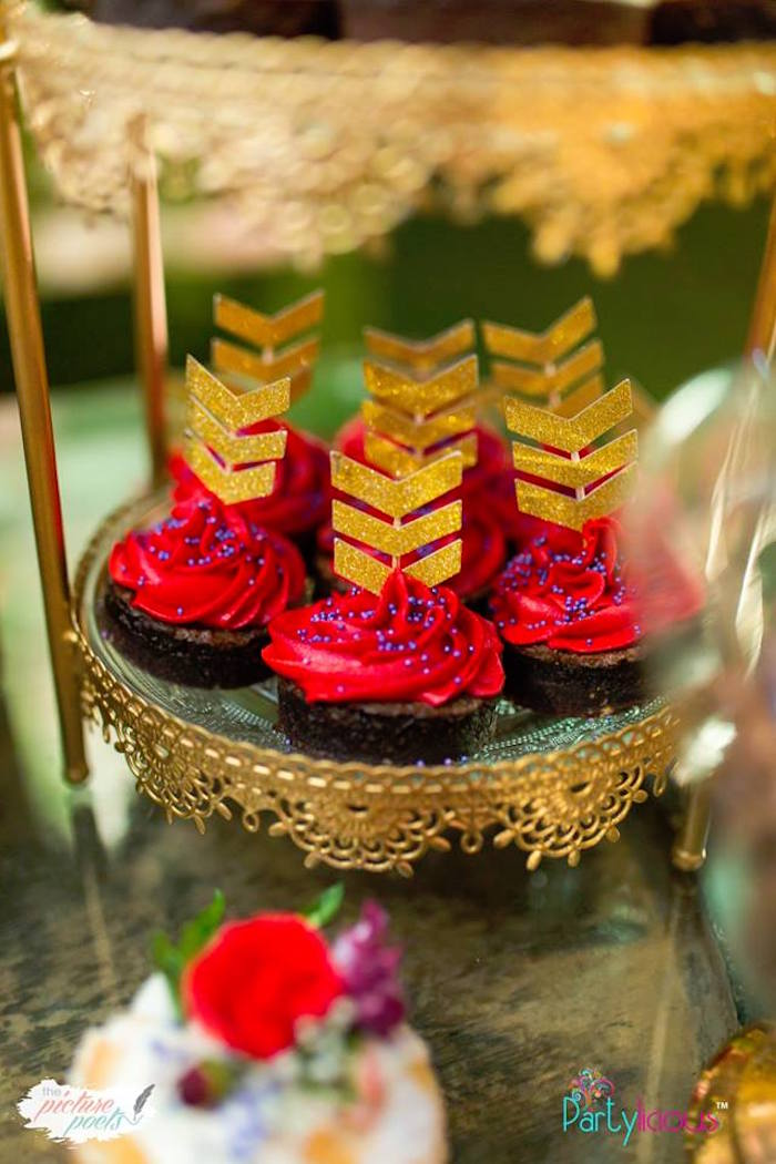Arrow Fletching-inspired Cupcakes + Toppers from a Boho Vintage 21st Birthday Party on Kara's Party Ideas | KarasPartyIdeas.com (14)